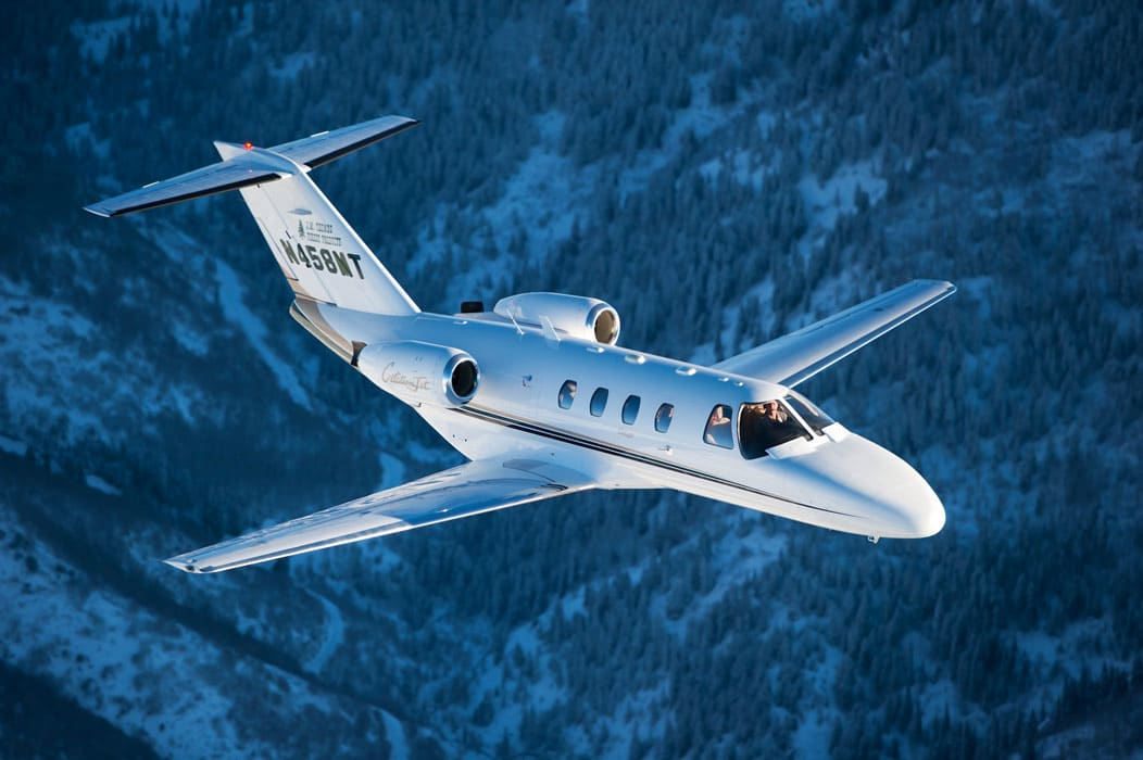 A Cessna Citation Jet aircraft in flight