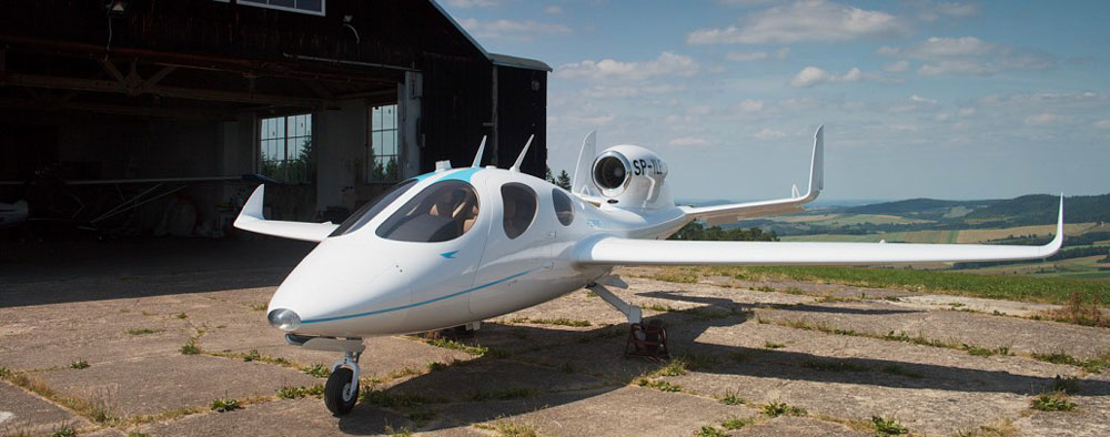 The Flaris Lar 1 light business jet with the new engine mounted