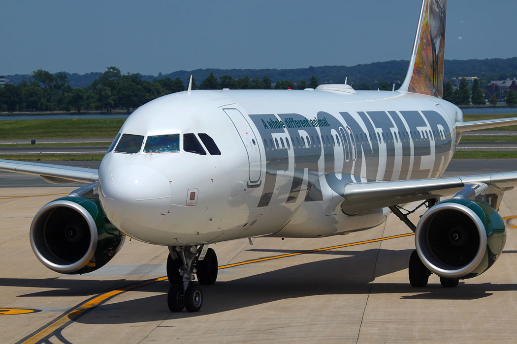 Frontier Airlines Airbus on the runway - Frontier Airlines Pilots File Grievance for Overdue Payment