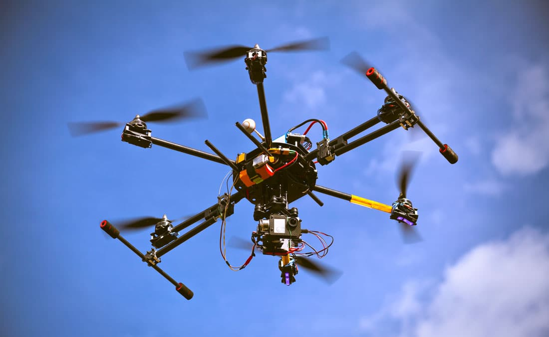 A small drone, or sUAS, in flight - FAA Pays Visit To Airports To Test New Drone Detection Systems