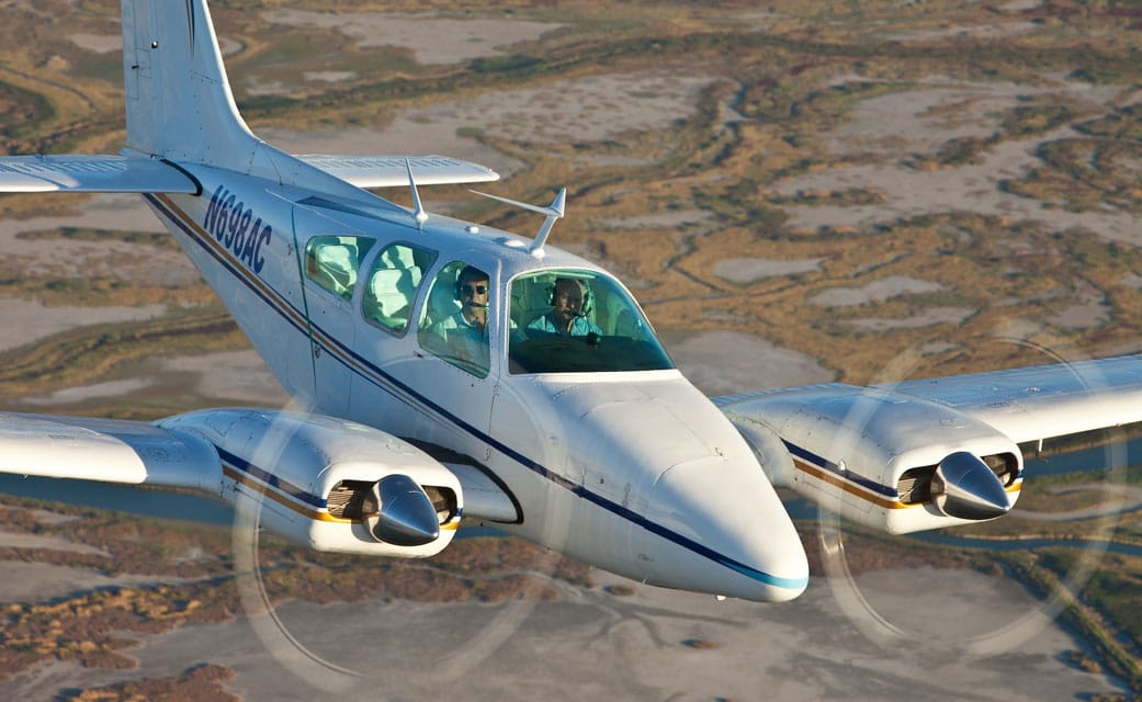 A Beechcraft B55 Baron in flight - Aviation Safety: The Right Mindset and Attitude Are As Important As Skill