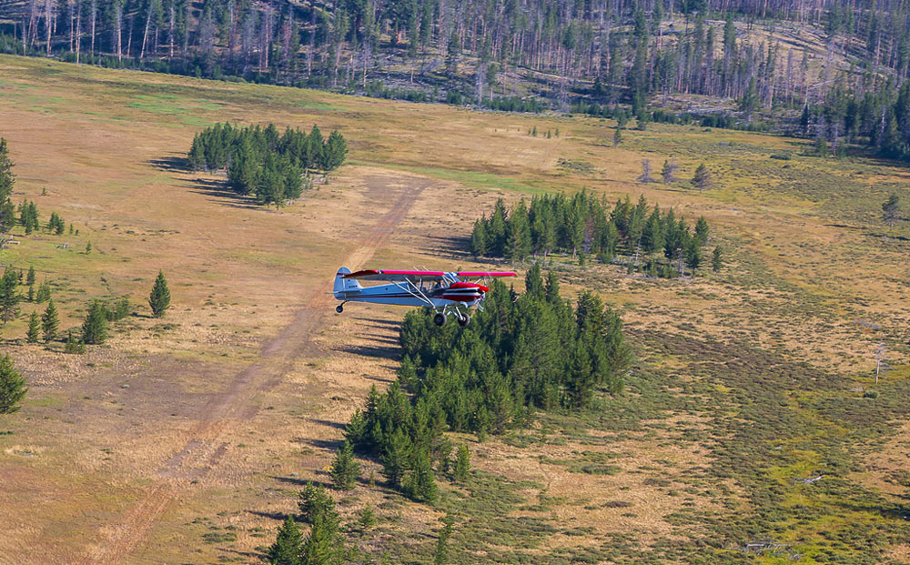 A Cub Aircraft backcountry flying in Idaho