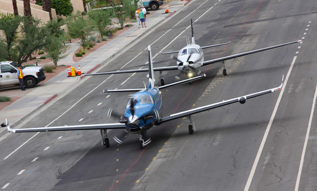 Pilatus PC-12 Aircraft in the Flying Aviation Expo parade of planes