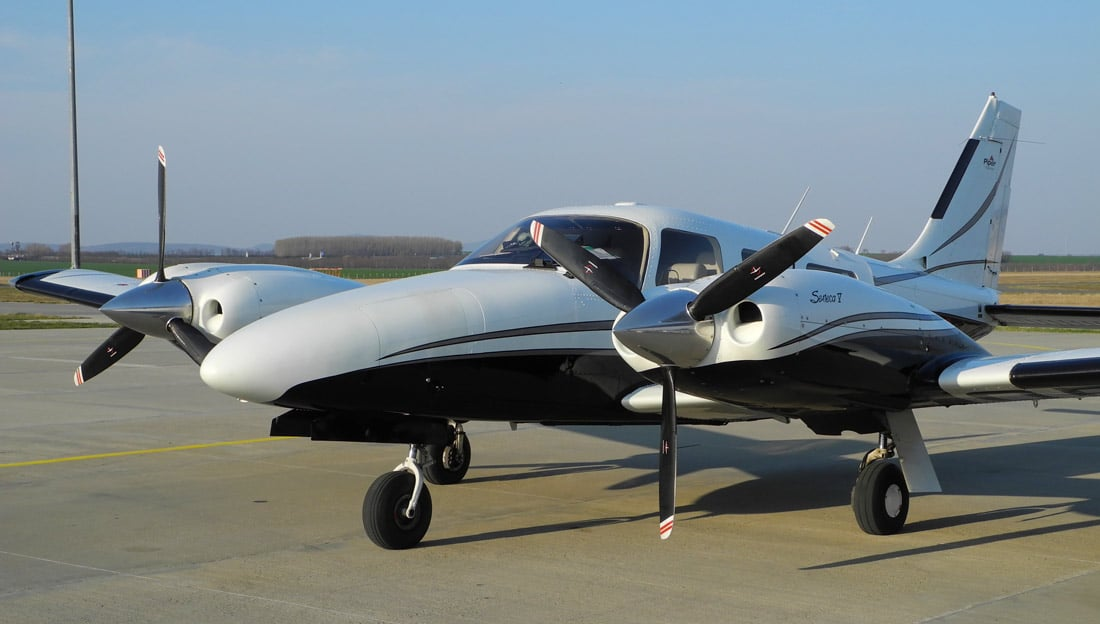 A Piper PA-34 Seneca aircraft, the same type involved in the recent Connecticut airplane crash