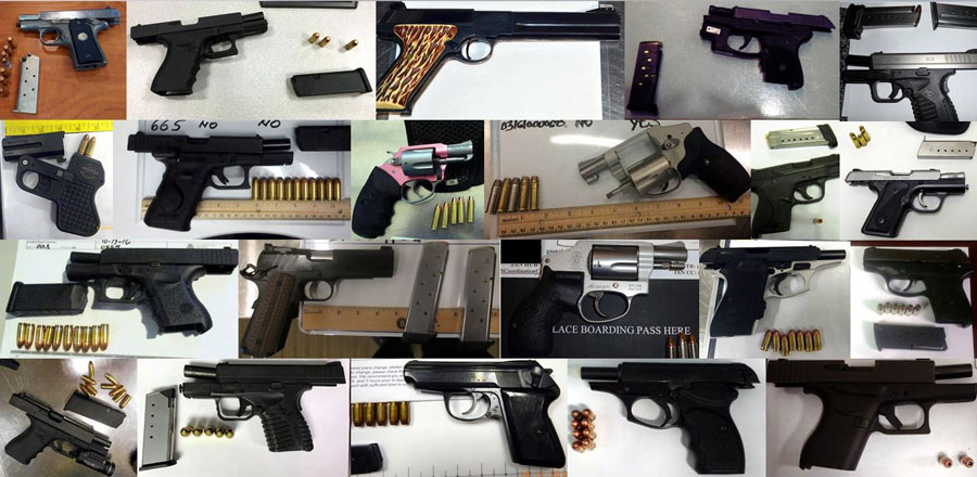 TSA Confiscated Items for October 2016, handguns