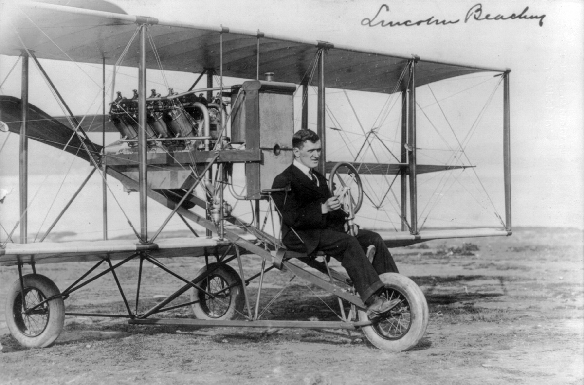 Lincoln J. Beachey seated in one of his planes