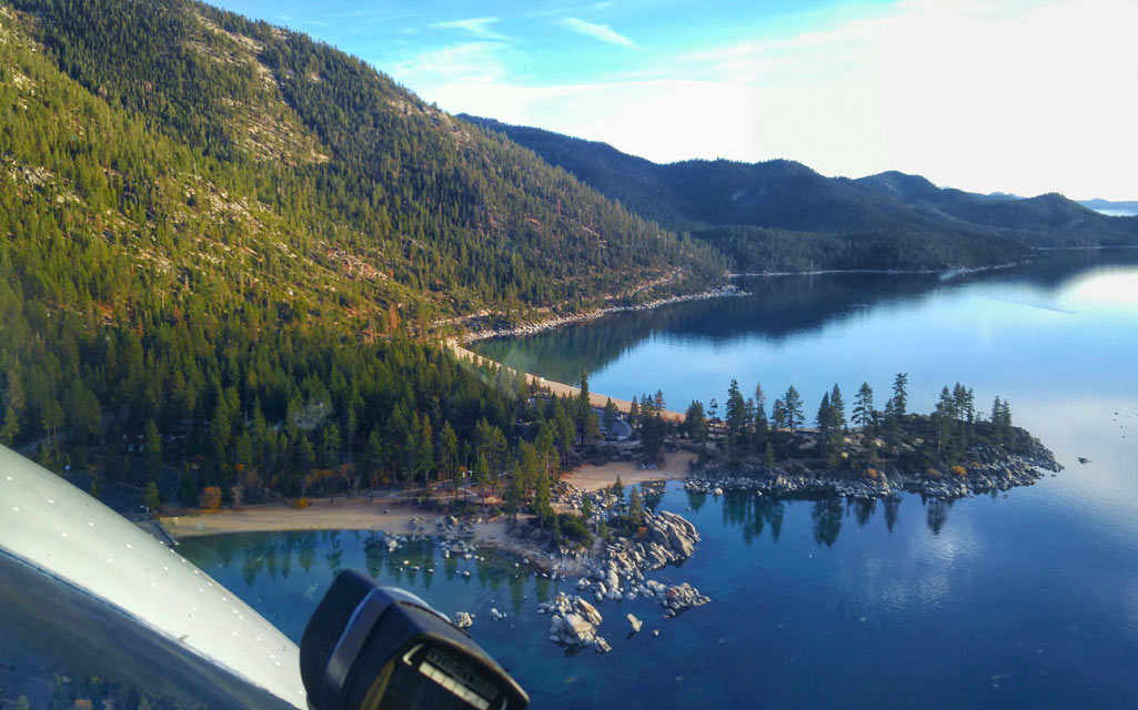 Flying over Sand Harbor, Lake Tahoe, during a first flight lesson