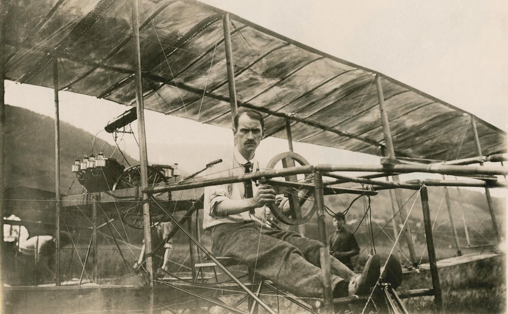 Glenn Curtiss in his Biplane