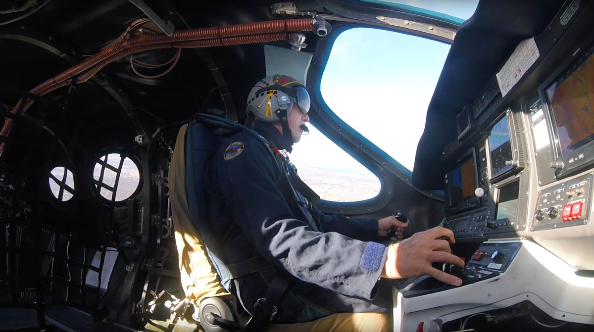 Test pilot flying the Stratos 714 very light jet aircraft during first test flight