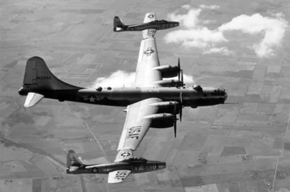 Parasite fighters attached to a B-29, for Project Tip Tow