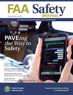 Cover for January - February FAA Safety Briefing, which discusses aviation risk management.