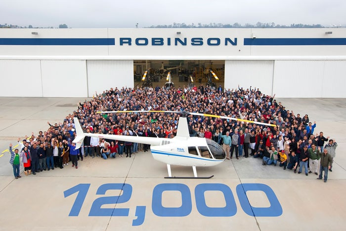 Photo of the Robinson R66 Helicopter that is the 12000th Robinson Helicopter delivered