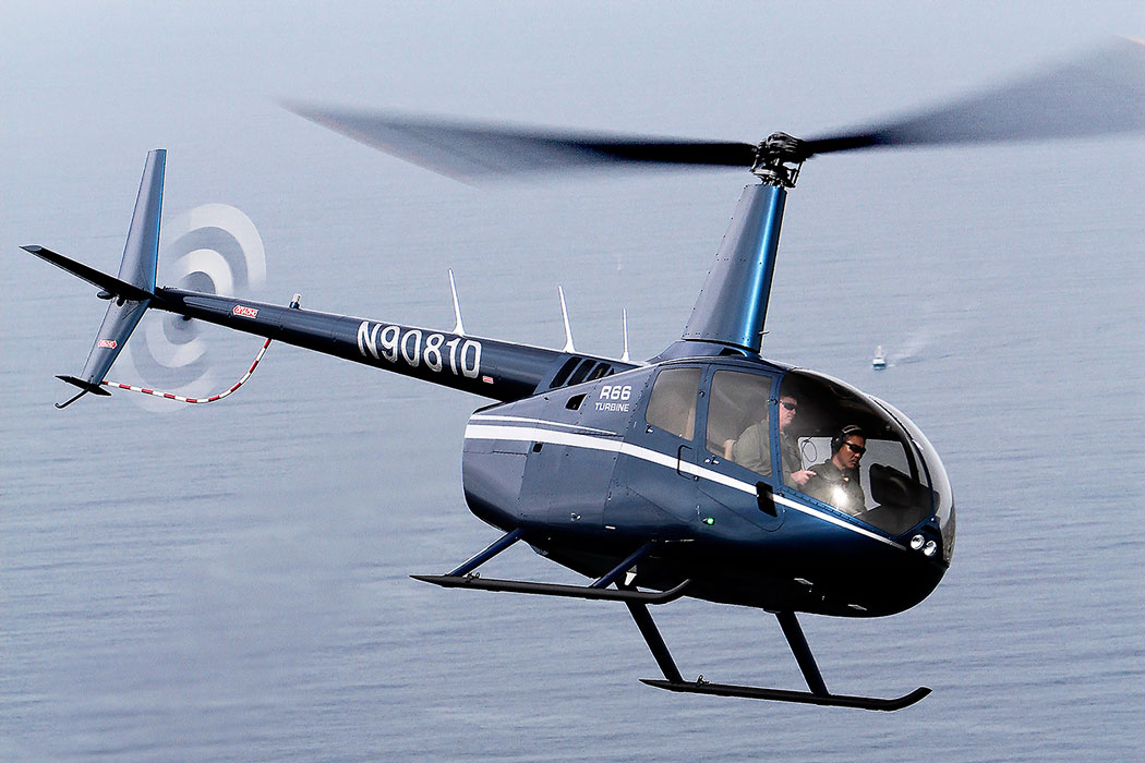 A Robinson R66 Helicopter in flight