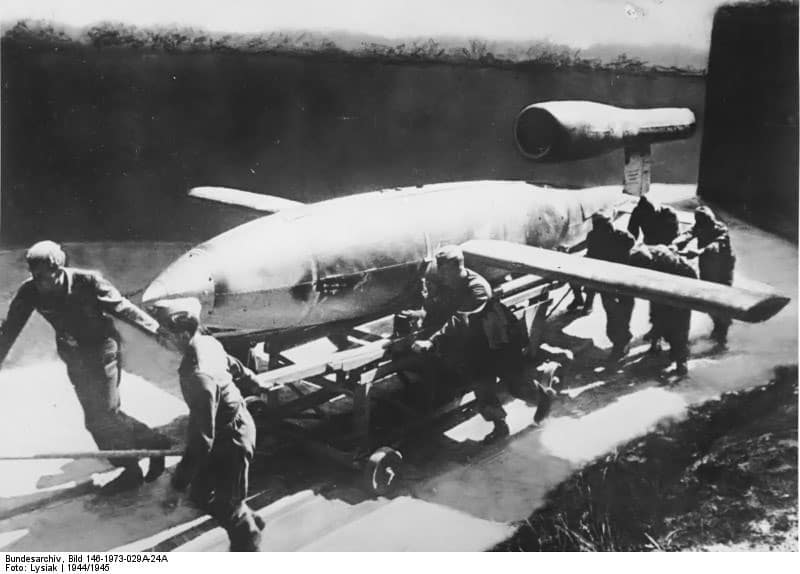 A V-1 flying bomb with a pulse jet attached for propulsion
