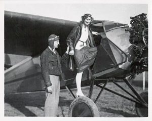 edwin albert link and his wife marion boarding a plane