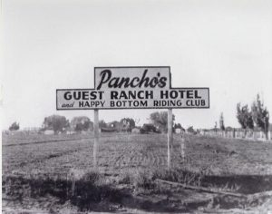 The original sign from Pancho Barnes' Happy Bottom Riding Club.