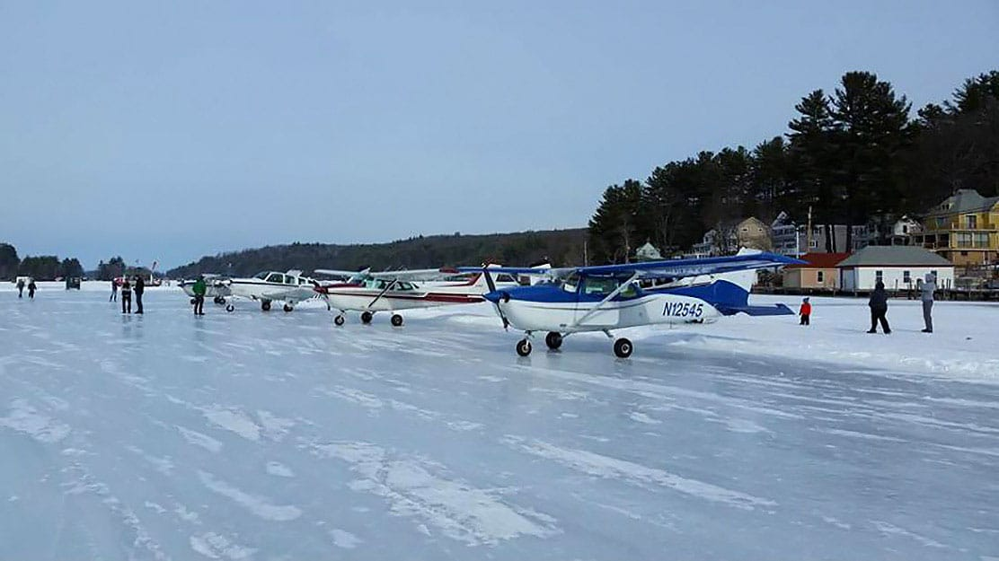 ice airstrip on alton bay