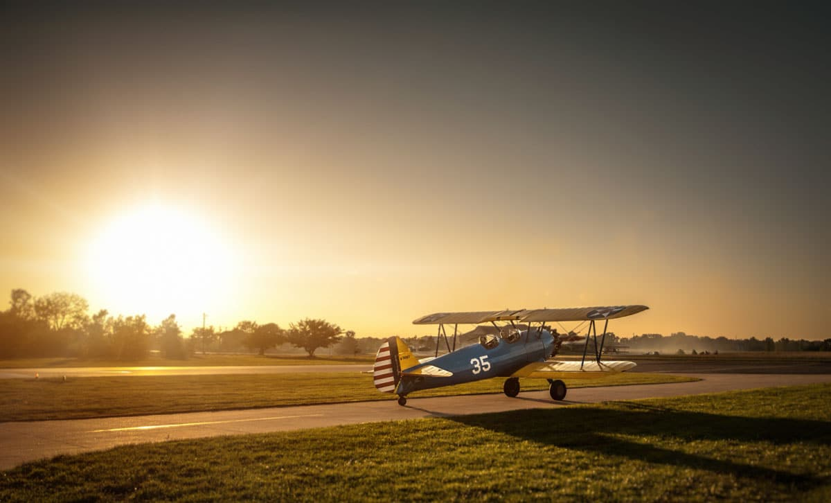 boeing-stearman model 75 in kansas in the early morning
