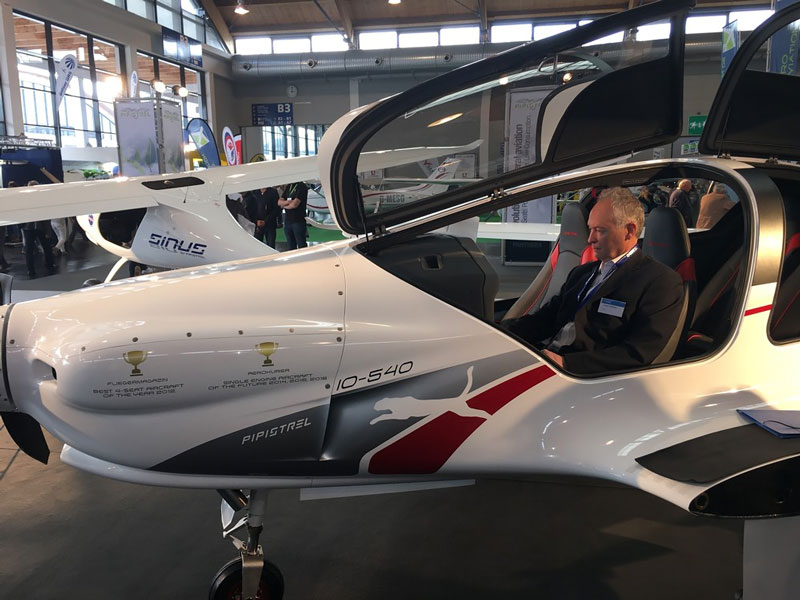 EASA Certification Head Trevor Woods checking out the Pipistrel Panthera at 2017 AERO