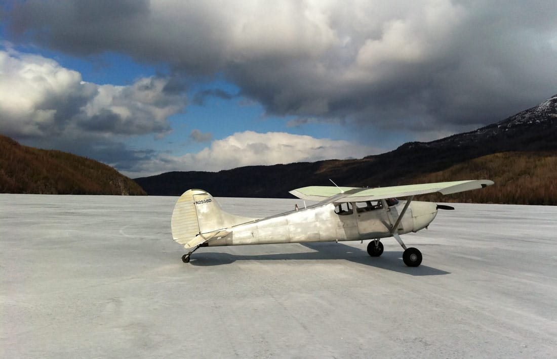 Cessna 170 at one of many Alaska backcountry airstrips