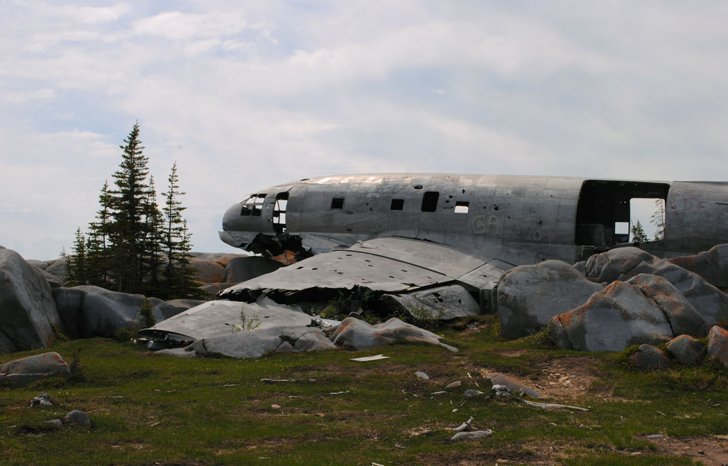 A wrecked Curtiss C-46, documented by aviation archaeology hobbyists