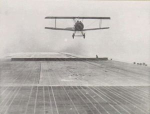 A Sopwith Camel coming in for landing on an aircraft carrier