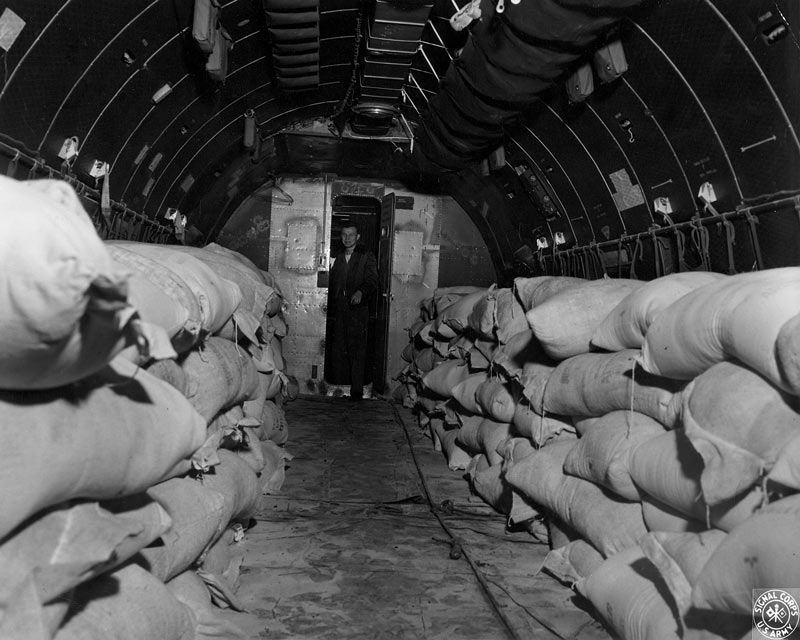Cargo hold of the C-54 - Aircraft of the Berlin Airlift