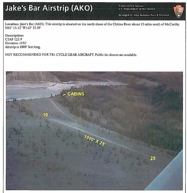 Aerial view of Jake's Bar airstrip