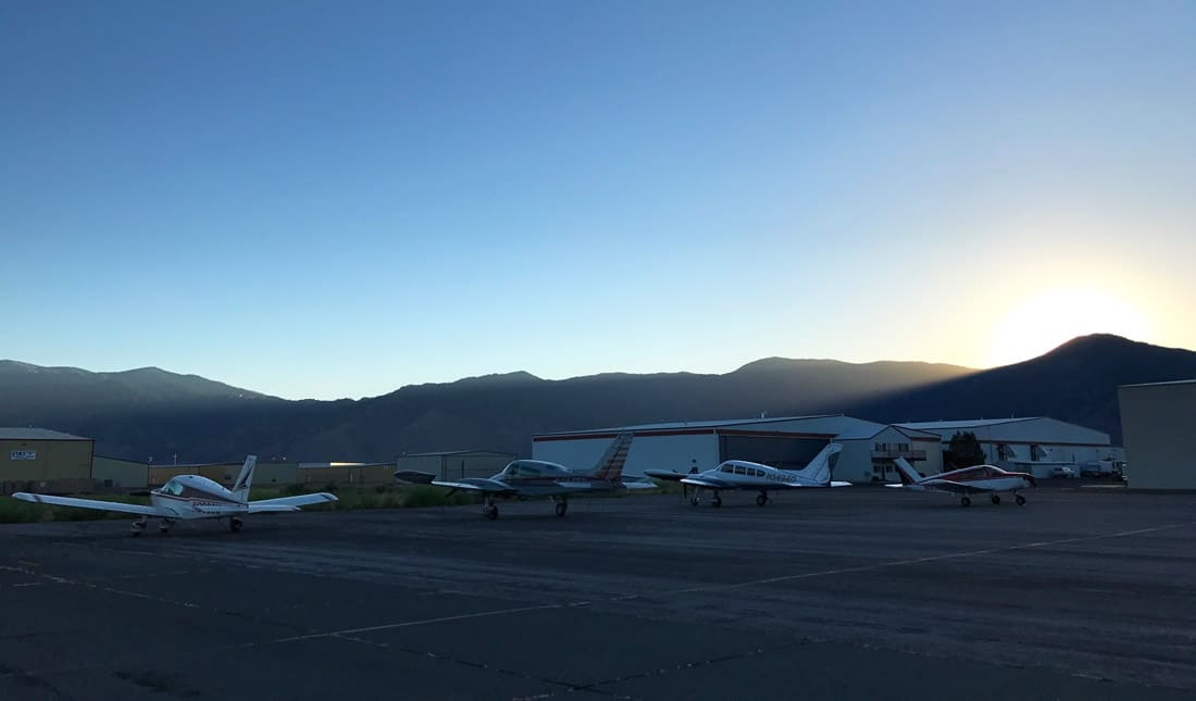 Airplanes on the ramp at a general aviation airport