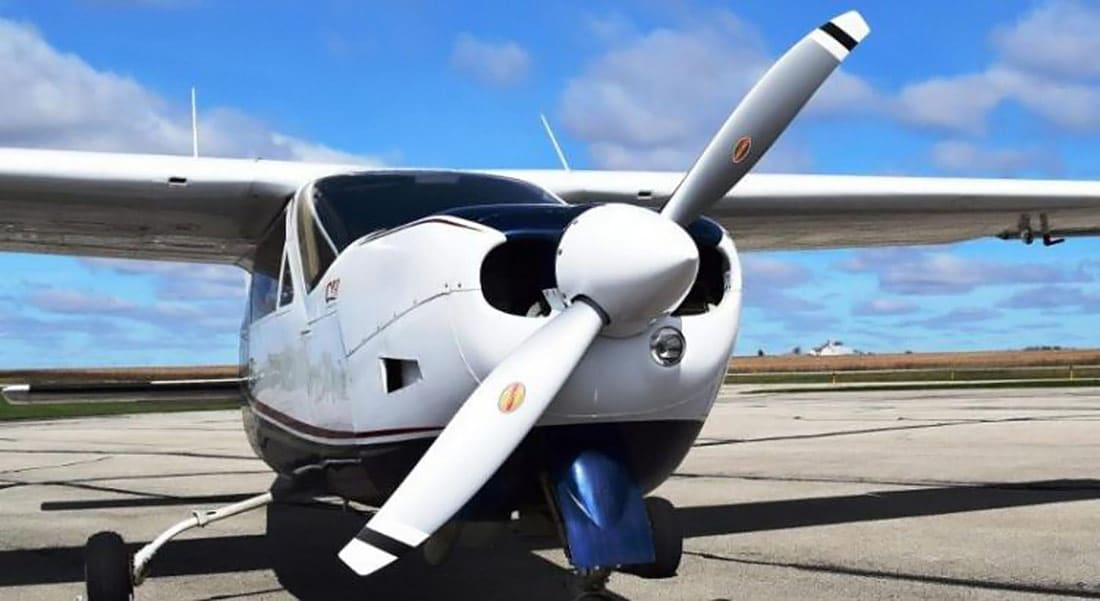 A Cessna Cardinal RG equipped with a Hartzell 2-blade Scimitar propeller, just approved via STC.