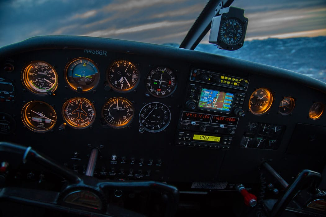 Instrument panel of a Piper Cherokee at night - Preventing Loss of Control In Flight
