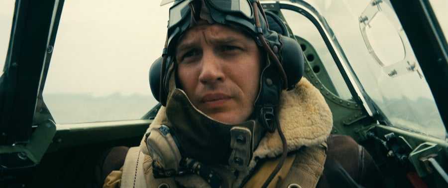 Actor Tom Hardy in his role as a Spitfire pilot in the movie Dunkirk