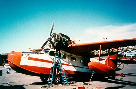 Grumman Goose N703 being worked on.