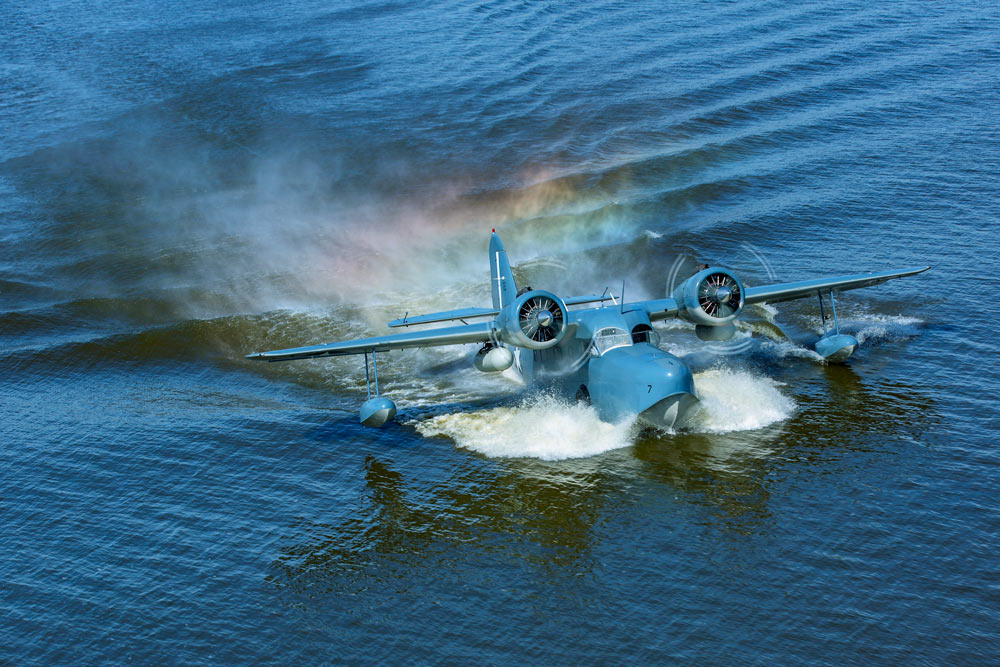 Grumman Goose N703 during a water landing.