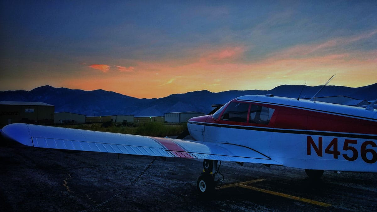 asi seminar piper cherokee at sunset